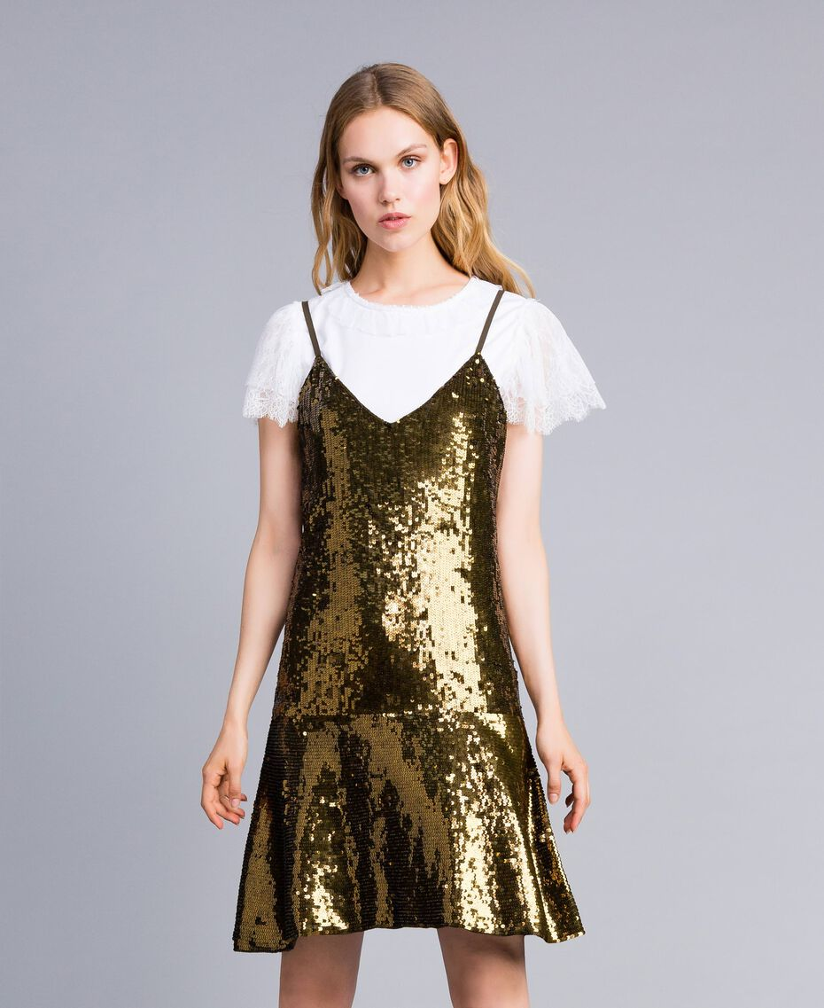 """Sequin dress """"Military"""" Green with Gold Sequins Woman TA82DD-01"""