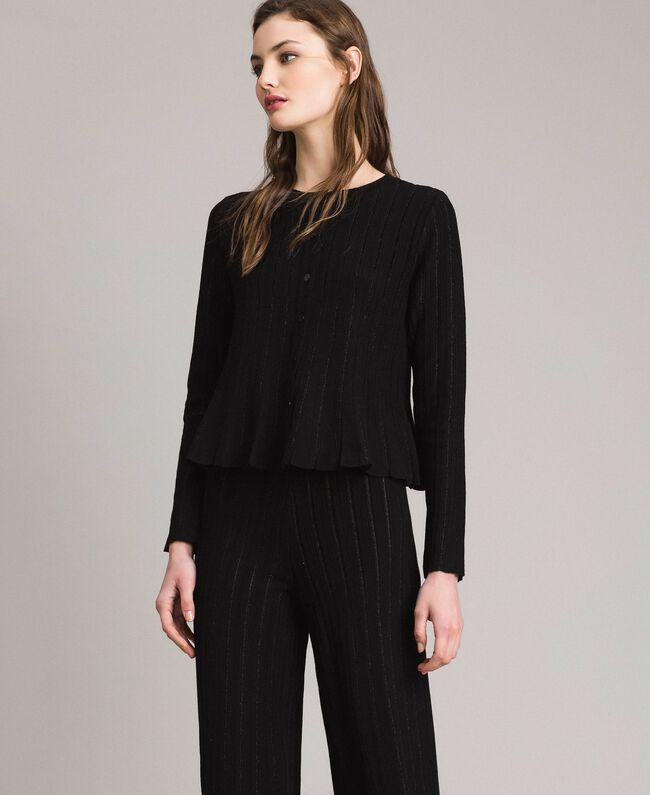 la clientèle d'abord meilleure sélection prix limité Gilet en maille orné de rayures lurex Femme, Noir | TWINSET ...