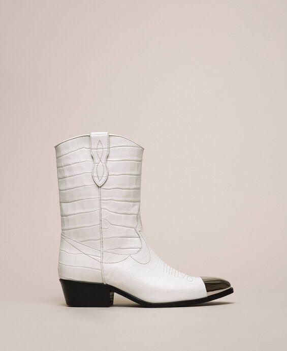 Bottes texanes en cuir imprimé crocodile