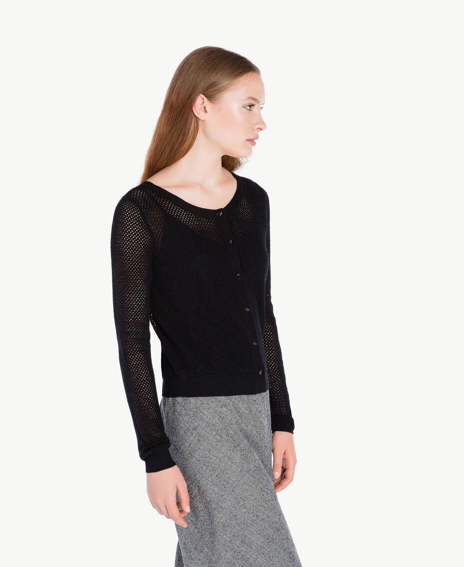 Mesh stitch mandarin collar top Black Female PA73LA-02