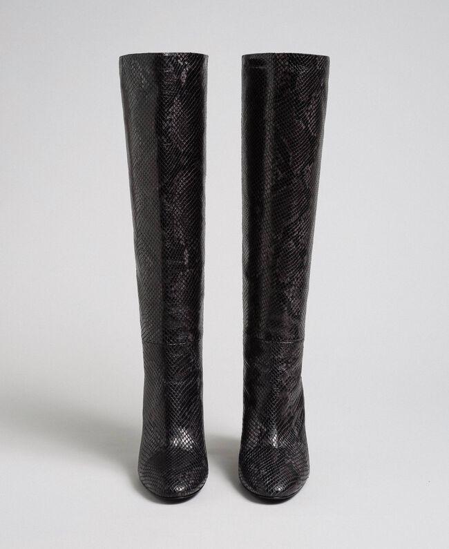 Leather high boots with animal print Dark Green Python Print Woman 192TCP108-05