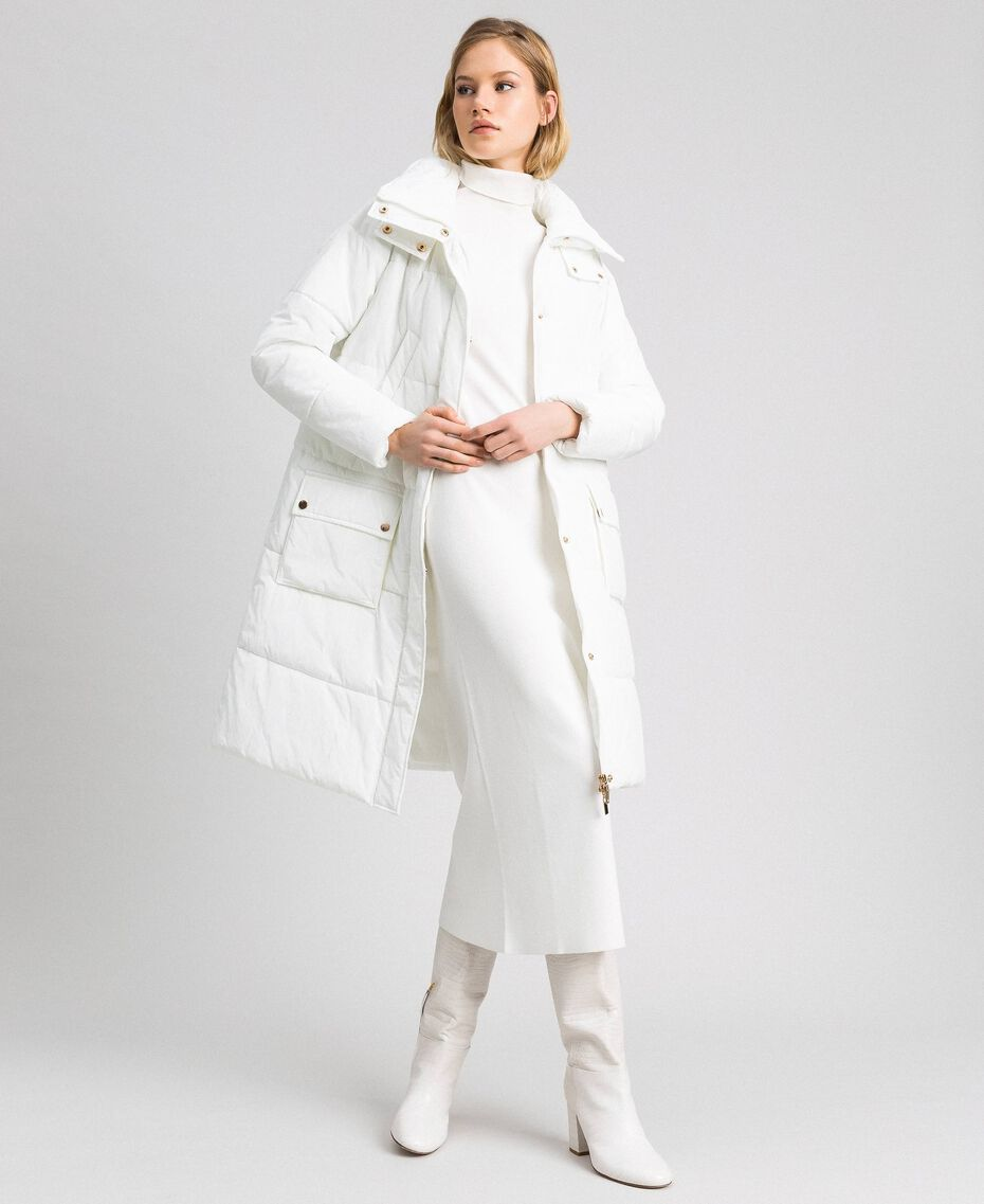 Long puffer jacket with high neck Ivory Woman 192LI2JAA-02