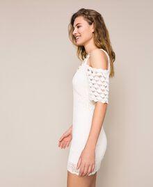 Robe moulante au crochet avec broderies et franges Blanc Neige Femme 201TT3151-02