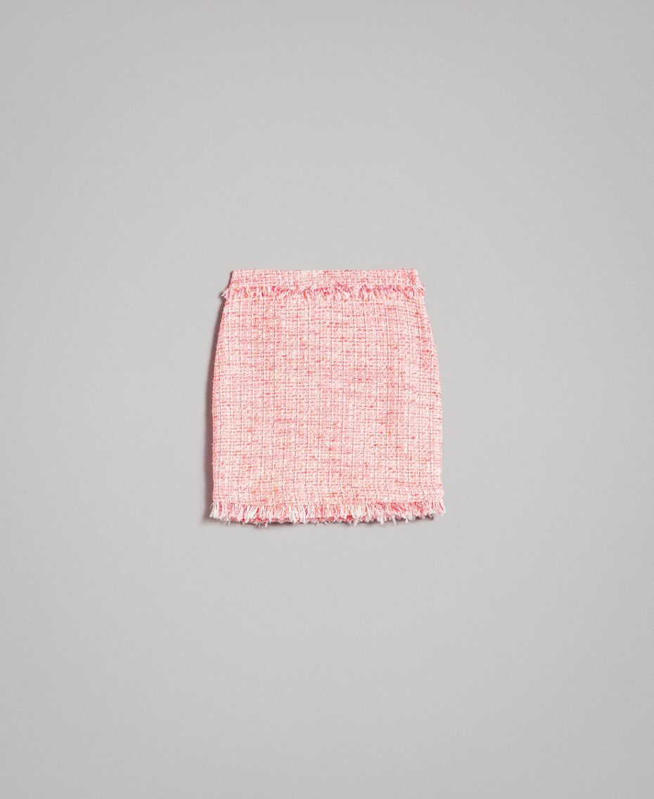 "Minirock aus Tweed mit Fransen Multicolour ""Wild Rose"" Pink Bouclé Frau 191TP2527-0S"