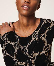 Robe en maille jacquard avec motif de chaînes Jacquard Chaîne Noir Femme 202TT3161-05