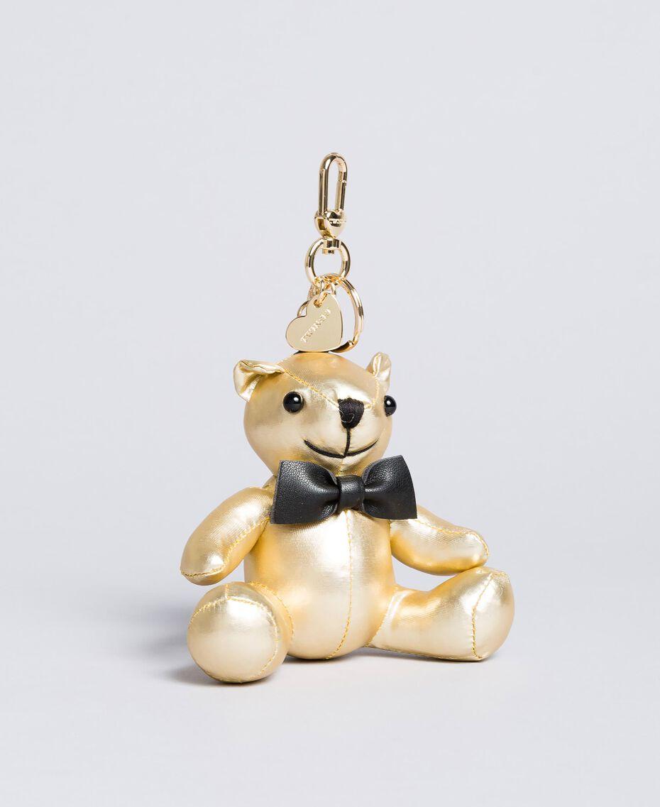 Schlüsselanhänger aus Metallic-Lederimitat Goldfarbene Beschichtung Frau OA8TE2-01