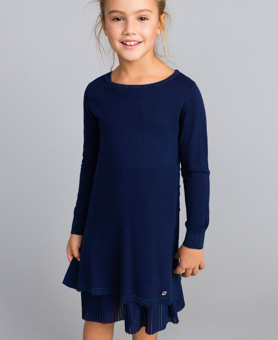Knitted dress and jersey slip Blackout Blue Child GA83B2-0S