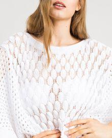 Poncho in maglia traforato Bianco Donna 191LB3GBB-04