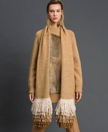 Knit scarf with fringes Camel Woman 192TO5385-0S