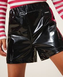 Shorts in Lackoptik Zweifarbig Schwarz / Pink Gloss Kind 202GJ213B-05