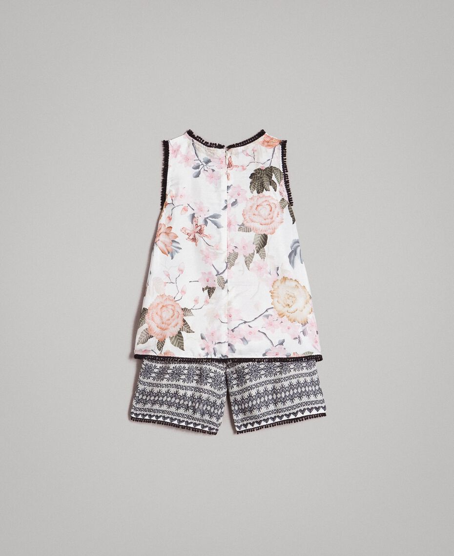Blumenmuster-Oberteil und Shorts mit Spitzen-Aufdruck Motiv Ramage Schmetterling Kind 191GB2521-0S