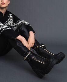 Schnürstiefelette aus Leder mit hohem Absatz und Perlen Schwarz Frau 192TCP01C-0S