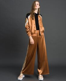"Satin palazzo trousers with sequins ""Camel Skin"" Beige Woman 192LI2RBB-02"