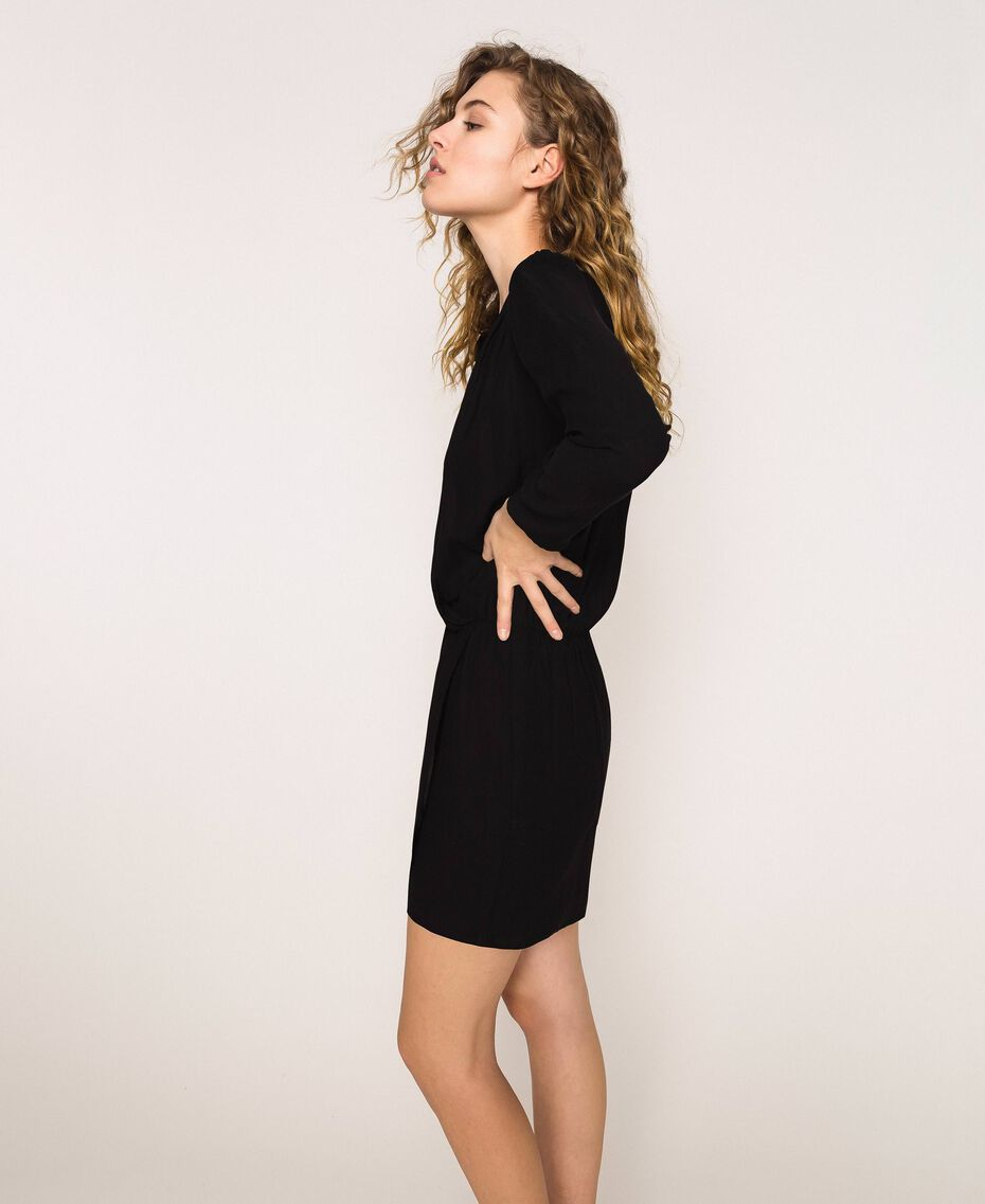Overlapping crêpe dress Black Woman 201LB25HH-02