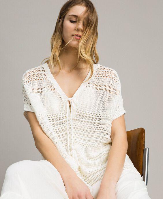 Oversized openwork knit poncho