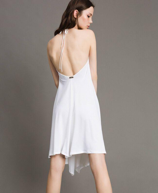 Robe asymétrique en jersey crêpé Blanc Femme 191LB22QQ-03