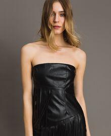 Kunstleder-Bustier-Kleid mit Fransen Schwarz Frau 191TT2320-04