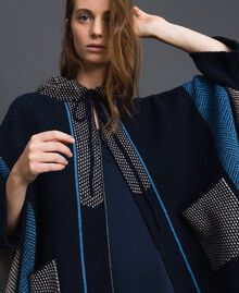 Wool blend cape with jacquard patterns Night Blue Chevron Jacquard Woman 192ST3030-01