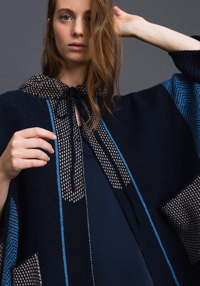 Cappa in misto lana a motivi jacquard