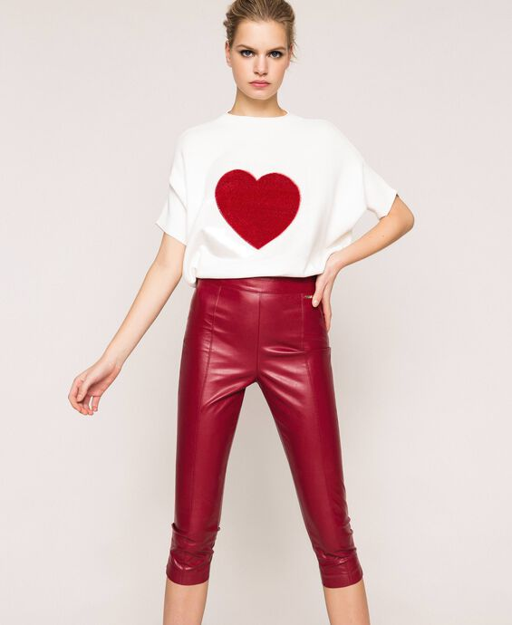 Faux leather leggings with stitches