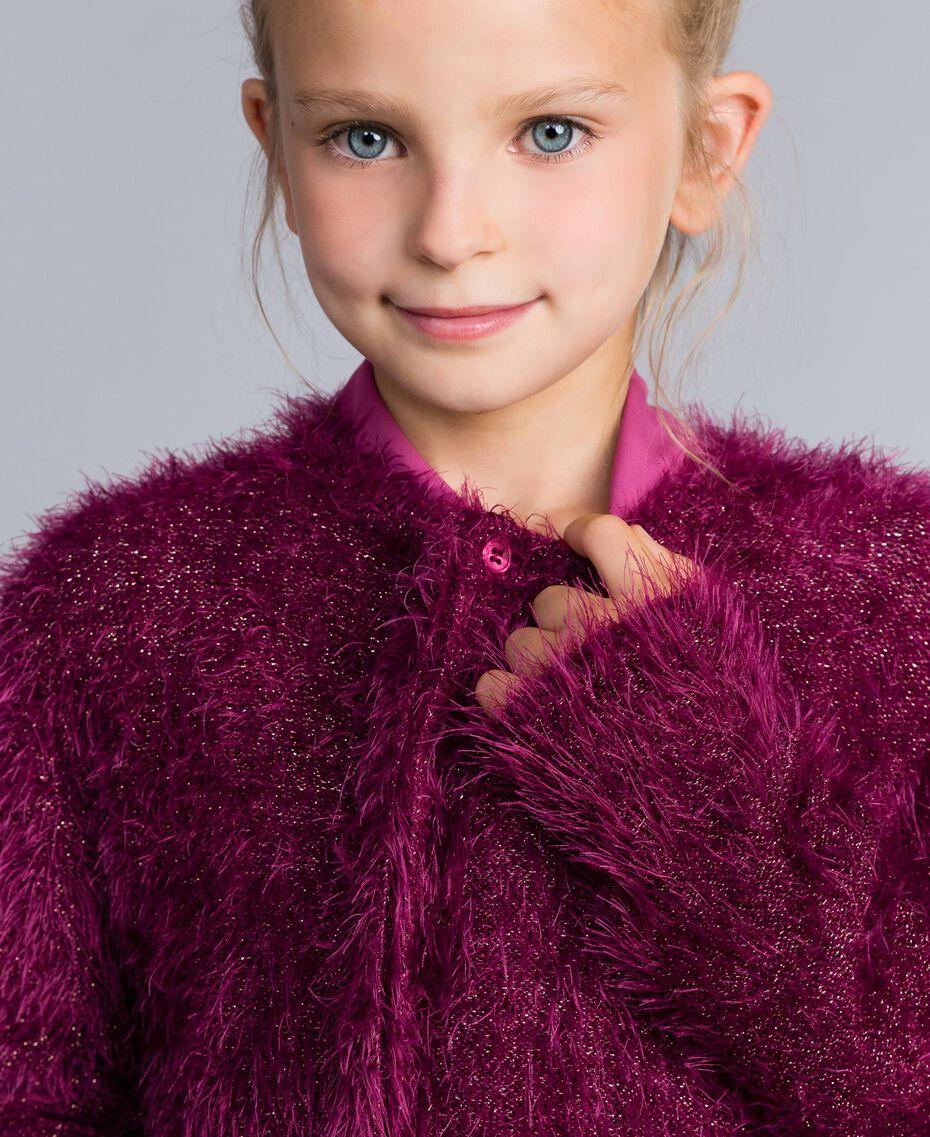Cardigan en point fourrure Violet Raisin Doux Enfant GA83D3-05