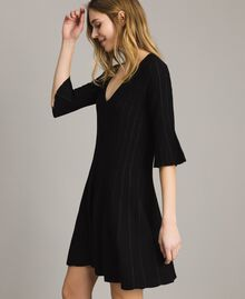 Knit dress with lurex stripes Black Woman 191TP3250-02