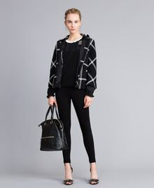 "Short check coat Bicolour Black / ""Snow"" White Check Woman PA826Y-0T"