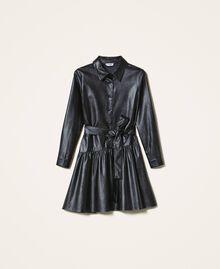 Kleid aus Lederimitat mit Gürtel und Volant Schwarz Frau 202ST2015-0S