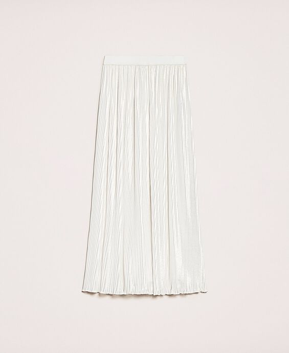 Laminated pleated long skirt