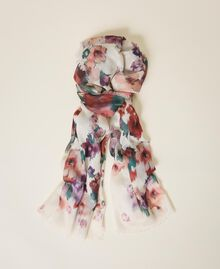 Floral print scarf Ivory Floral Print Woman 202TO510K-01