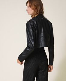 Faux leather cropped biker jacket Black Woman 202TP230A-03
