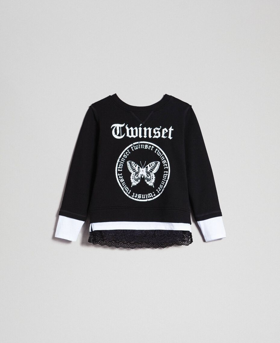 Oversize sweatshirt with print and lace Two-tone Black / Optical White Child 192GJ2391-0S