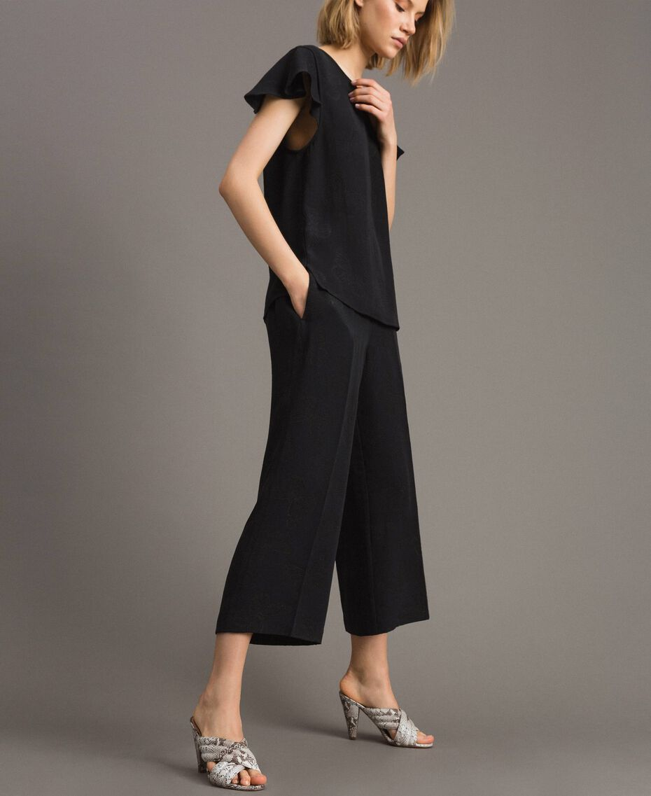 Pantalon avec papillons jacquard Noir Femme 191TT2140-02
