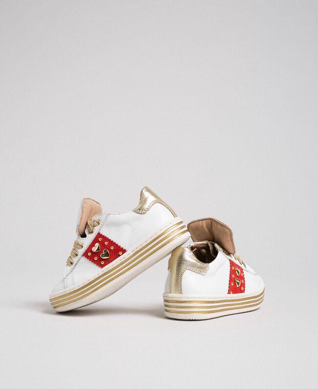 Baskets en cuir avec cœurs et clous Blanc Enfant 192GCB026-04