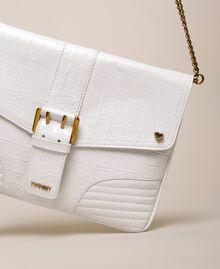 """Croc print leather Rebel pochette """"Snow"""" White Crocodile Print Woman 201TA7112-01"""