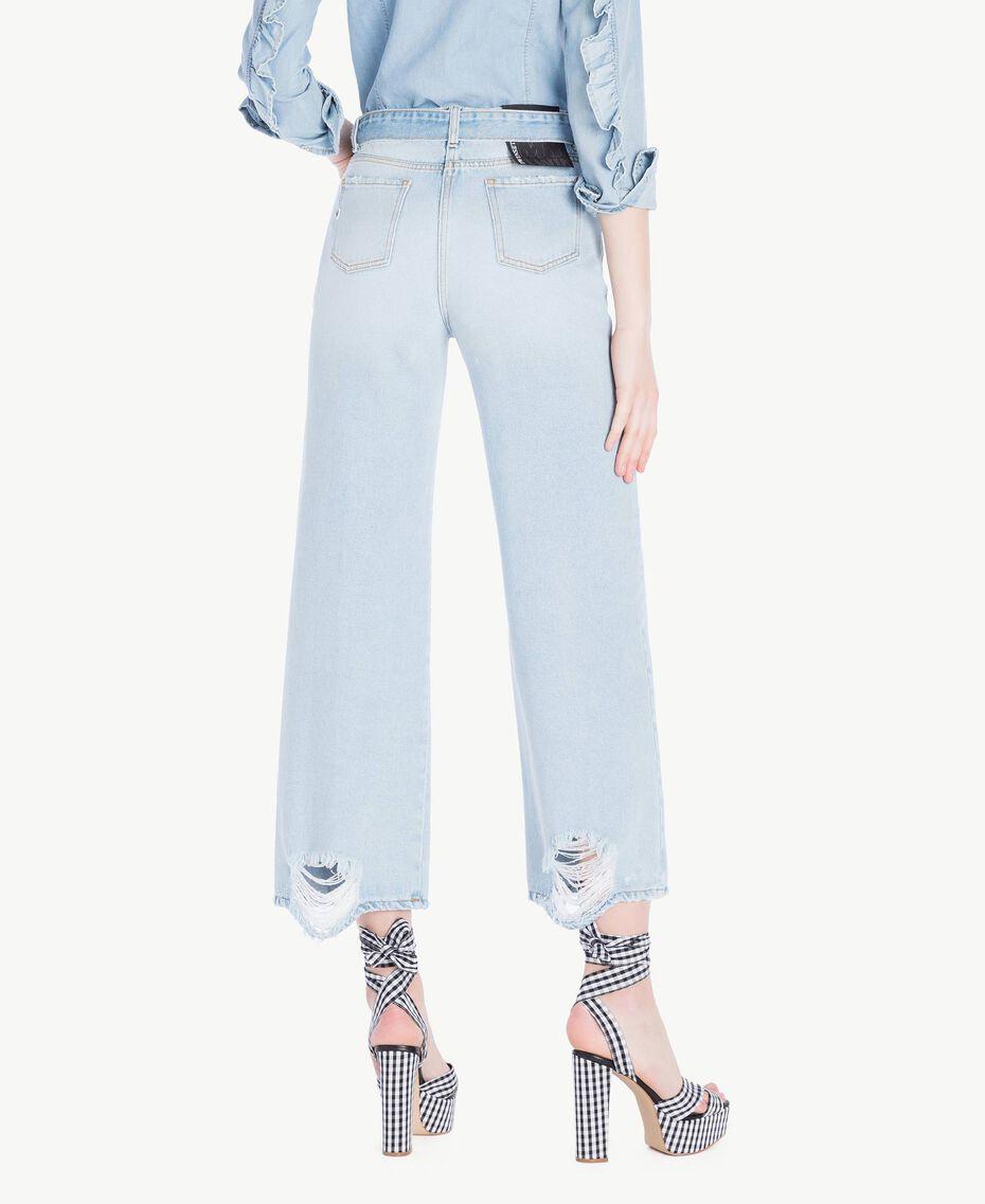 Jeans mit weitem Bein Denimblau Frau JS82WV-03