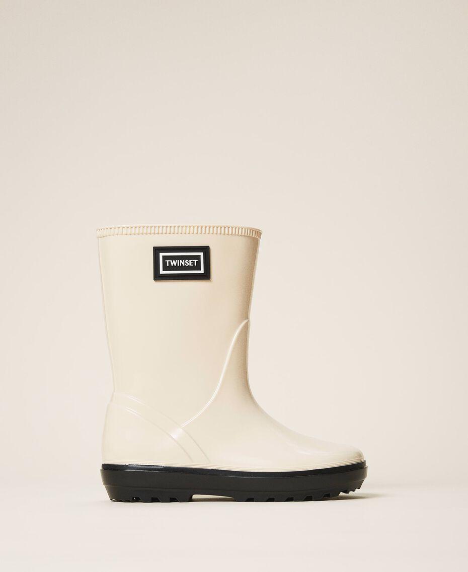 Rain boots with logo Creamy White Child 202GCJ100-02