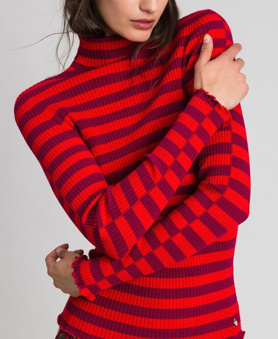 Turtleneck jumper with two-tone stripes
