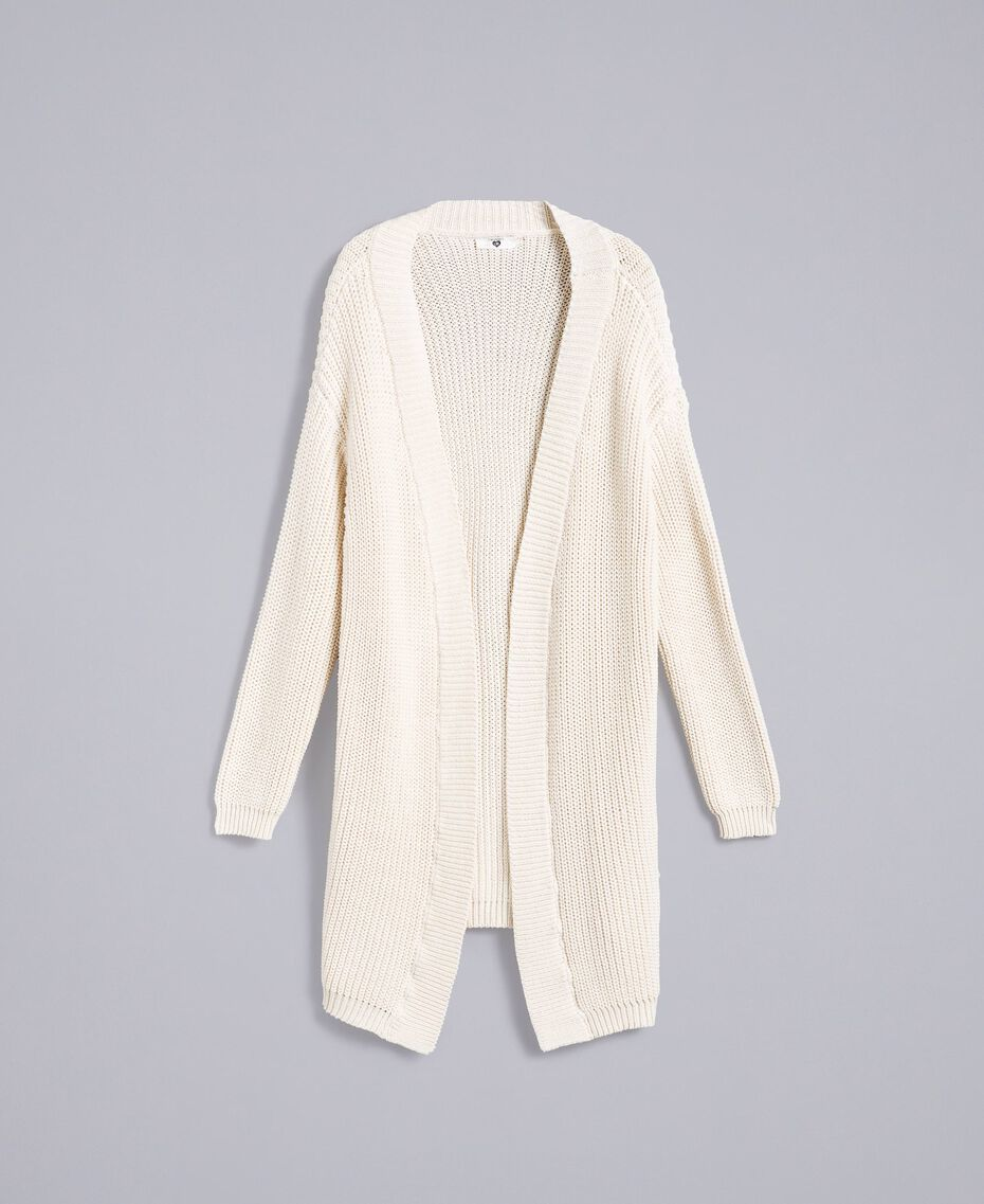Maxi cardigan en coton et laine Blanc Femme IA87AA-0S