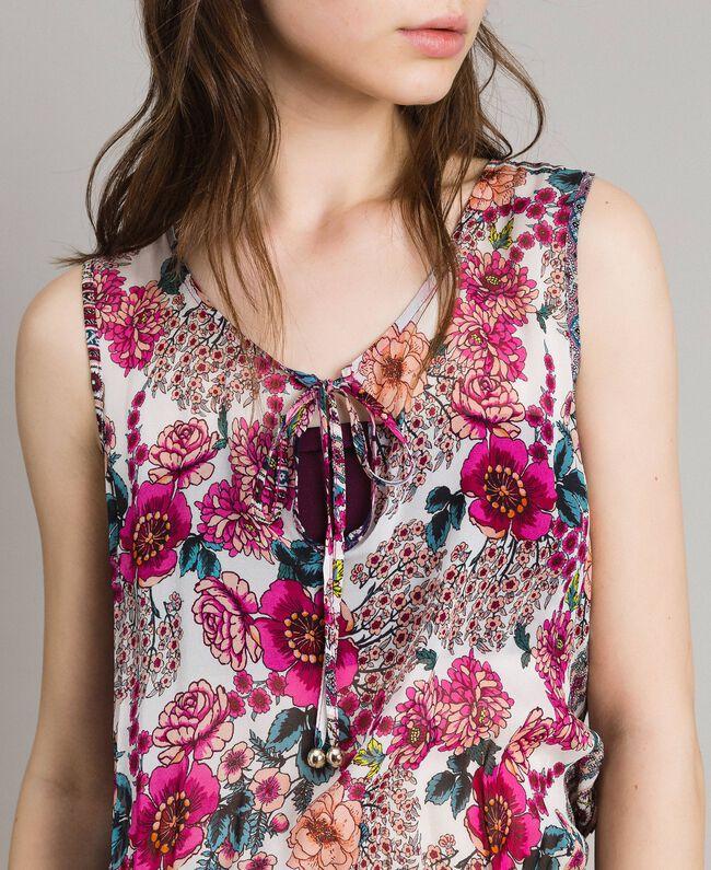 "Chiffon jumpsuit with shawl print ""Psychedelic Pink"" Fuchsia Scarf Print Woman 191LB2HGG-04"