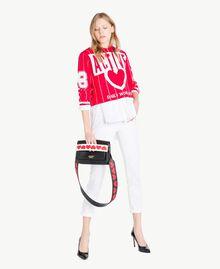 Pull court Bicolore Rouge Cerise / Blanc Optique Femme JS83HP-05