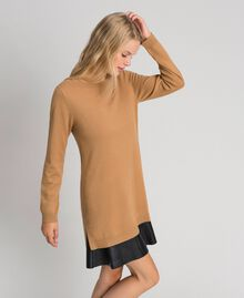 "Wool and cashmere dress with faux leather ""Sequoia"" Beige Woman 192ST3151-02"