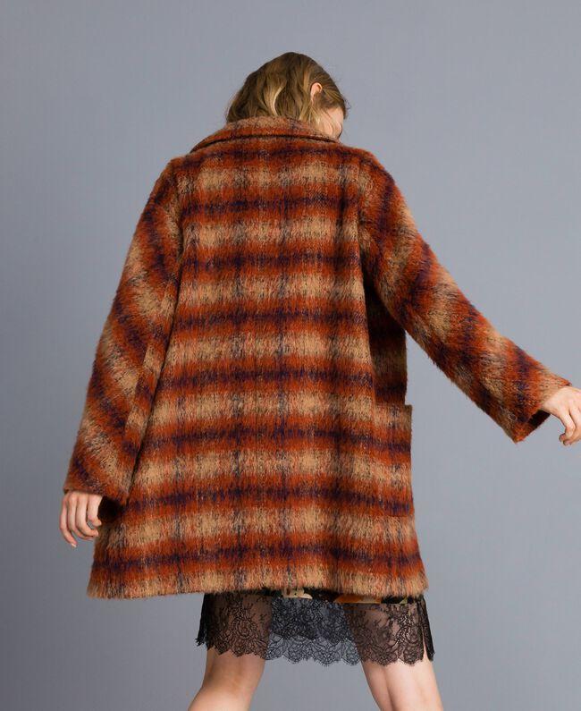 Manteau en drap à carreaux Jacquard Carreaux Déchiré Marron Femme TA821J-04