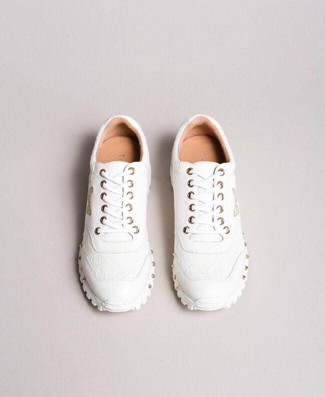 Sneakers aus Spitze und Wildleder Weiß Frau 191TCP026-05