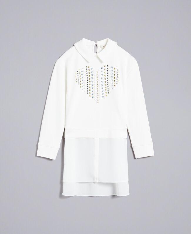 Maxi Milan stitch and georgette sweatshirt Off White Child GA82FU-01