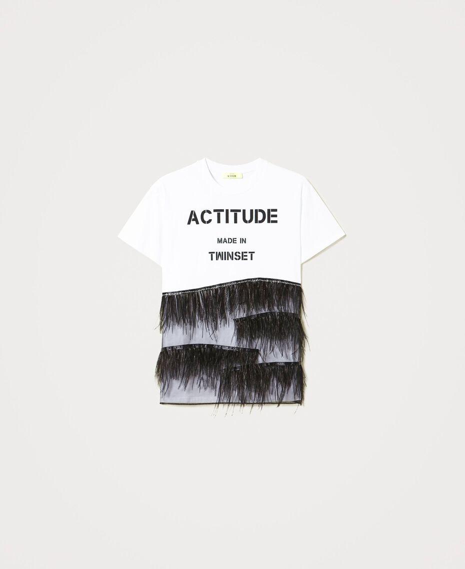 T-Shirt mit Federn und Strass Optisches Weiß / Schwarz Frau 211MT2600-0S