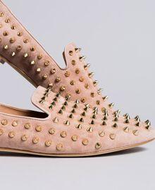 """Slippers in pelle scamosciata con borchie Rosa """"Pale Pink"""" Donna CA8TFJ-04"""
