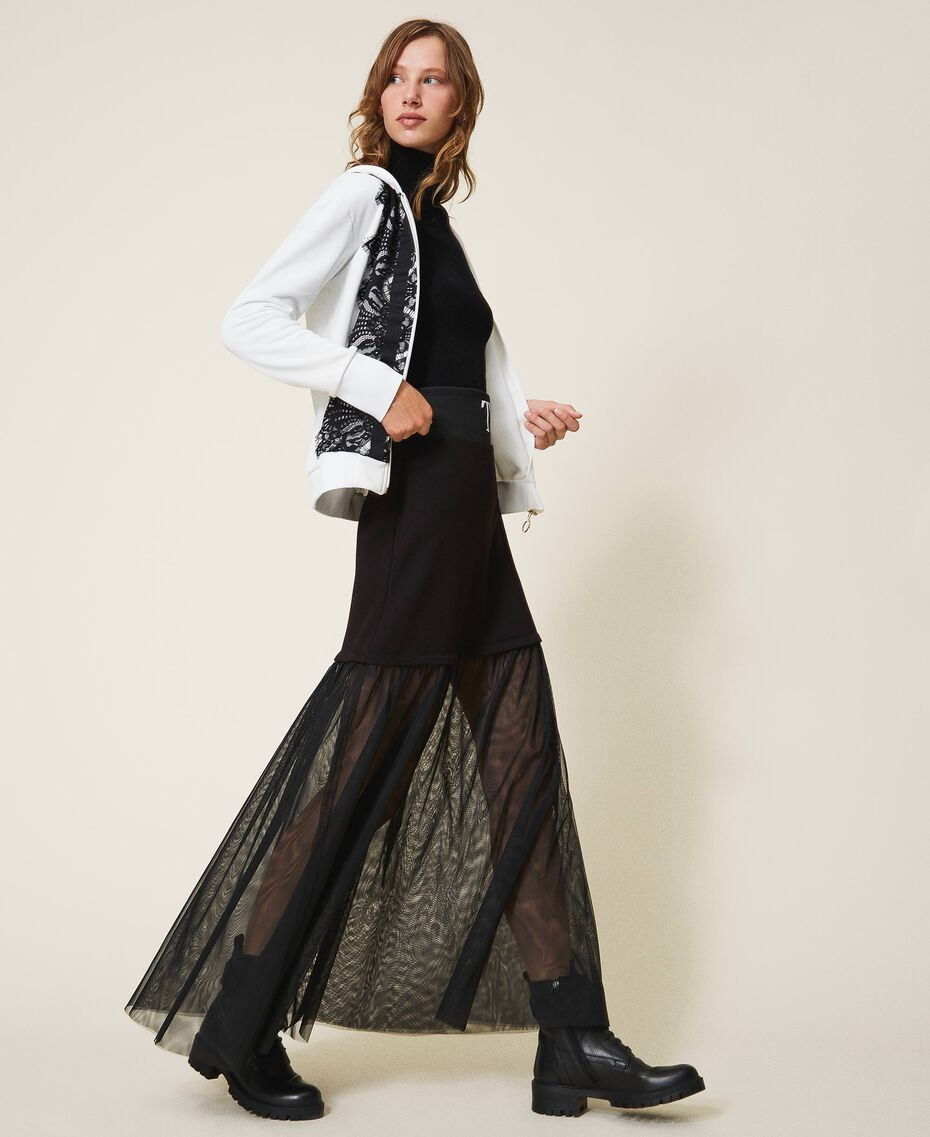 Long skirt with tulle Black Woman 202LI2NMM-01