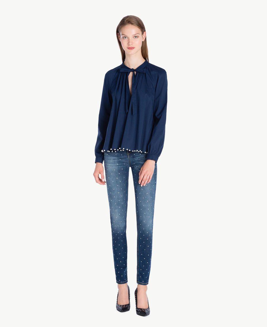 Jean skinny strass Bleu Denim JA72S4-02
