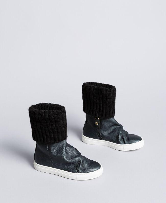 Sneakerboots aus Leder und Strick Schwarz Kind HA88B3-01